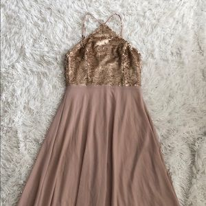 Lulus plum and gold sequin gown